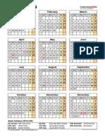 Calendar 2019 Portrait Year at a Glance