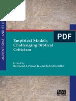 Raymond F. Person Jr., Robert Rezetko-Empirical Models Challenging Biblical Criticism-SBL Press (2016)