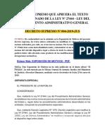 D.S. N° 004-2019-JUS - Decreto Supremo que aprueba el T.U.O de la Ley N° 27444 - Ley del Procedimiento Administrativo General