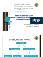 PRESENTACIÓN COVENIN 2000-II. Med. Cod. de partidas para Est. Proy. y Cons. Edificaciones.