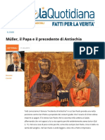 Mueller Il Papa e Il Precedente Di Antiochia