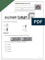 Avaliação Diagnóstica de Matemática 1º Ano - Cópia