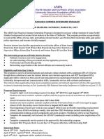APAPA SFC Summer Internship Program Application 2019