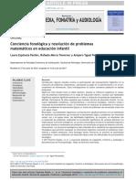 Conciencia Fonologica y Problemas Matematicos 2017
