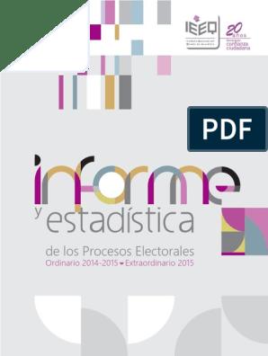 Informe Y Estadística De Los Procesos Electorales Ordinario