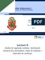 Lecture06- Distribuição Amostral Dos Estimadores Da RLM, Testes de Hipóteses