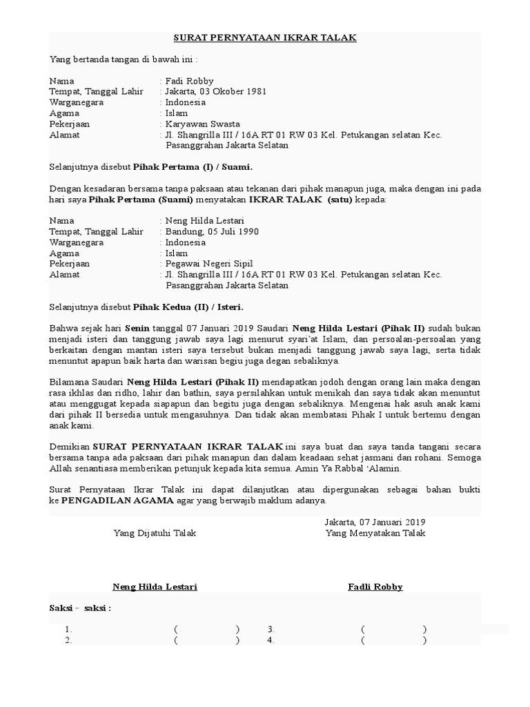 Dokumentips Contoh Surat Talak 3doc
