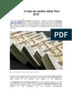 Proyección Tipo de Cambio Dólar Perú 2019