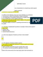 Motor Control Questions