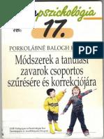 IP 17 Porkolábné Balogh Katalin - Módszerek a Tanulási Zavarok Csoportos Szűrésére
