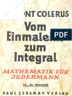 Vom Einmaleins Zum Integral - Egmont Colerus