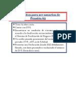 Requisitos Para Ser Usuarios de Pensión 65
