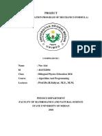 Sample Application Program of Mechanics Formula