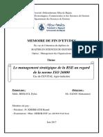 Le Management Stratégique de La RSE Au Regard de La Norme ISO 26000