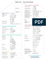 IB Maths SL Formula Sheet 2019