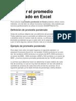 Calcular El Promedio Ponderado en Excel Costo
