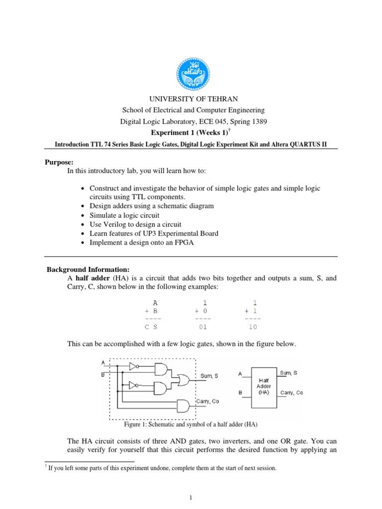 Experiment 1 Logic Gate Electronic Circuits Construct A Circuit Diagram