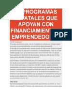 15 Programas Estatales Que Apoyan Con Financiamiento a Emprendedores
