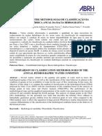COMPARAÇÃO ENTRE METODOLOGIAS DE CLASSIFICAÇÃO DA CONDIÇÃO HÍDRICA ANUAL DA BACIA HIDROGRÁFICA