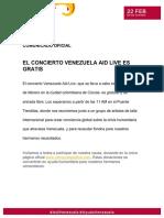 Comunicado Venezuela Aid Live