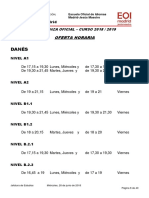 Oferta Horaria Danés Curso 2018-2019