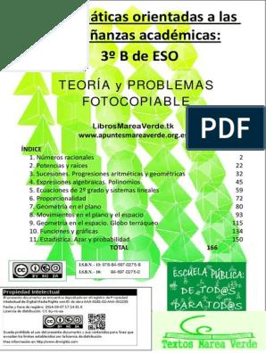 Apuntes Marea Verde 3 Aplicadas Fracción Matemáticas División Matemáticas