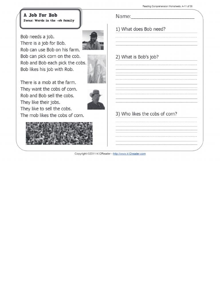 - A Job For Bob _ 1st Grade Reading Comprehension Worksheet Wk 11