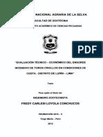 Evaluacion Tecnico Economico de Engorde de Toros