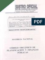 Ro 306 20101022 Codigo Org. Planificacion y Finanzas Publicas