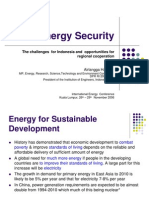 Energy Security the Challenges for Indonesia and Opportunities for Regional Cooperation