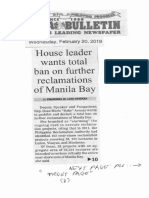 Manila Bulletin, Feb. 20, 2019, House leader wants total ban on further reclamations of Manila Bay.pdf