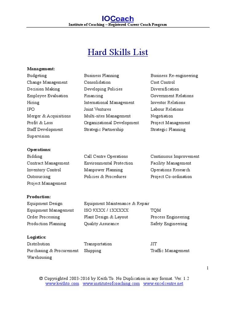 hard skills to put on a resume