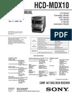 Sony HCD-MDX10 Service Manual