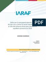 IARAF informe Fallos por la precoparticipación a favor de San Luis y Santa Fe