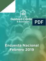 Encuesta Nacional - Febrero 2019 - Gustavo Córdoba y Asociados Yessssssss