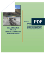 Dia Para La Extraccion de Material No Metalico Del Distrito de Rosario Provincia de Acobamba