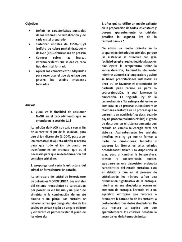 Objetivos Y Anexos Docx Cristal Entropía