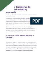 El Modelo Transteórico Del Cambio de Prochaska y Diclemente