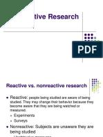 Nonreactive Research