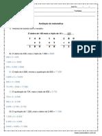Avaliacao de Matematica 4º Ou 5º Ano Resposta