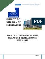 Plan de Contigencia Ante Huaycos e Inundaciones SJL 2017 2018 San Juan de Lurigancho 2017