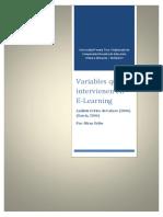 Variables que intervienen en E-Learning Análisis Crítico de Cabero (2006)