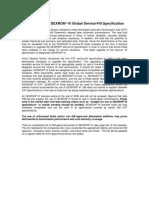 General Motors DEXRON -VI Global Service-Fill Specification