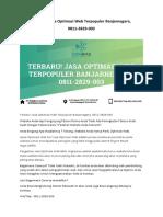 Terbaru! Jasa Optimasi Web Terpopuler Banjarnegara, 0811-2829-003