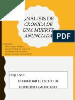 ANÁLISIS DE CRÓNICA DE UNA MUERTE ANUNCIADA