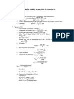 Formulas Diseño de Mezcla de Concreto