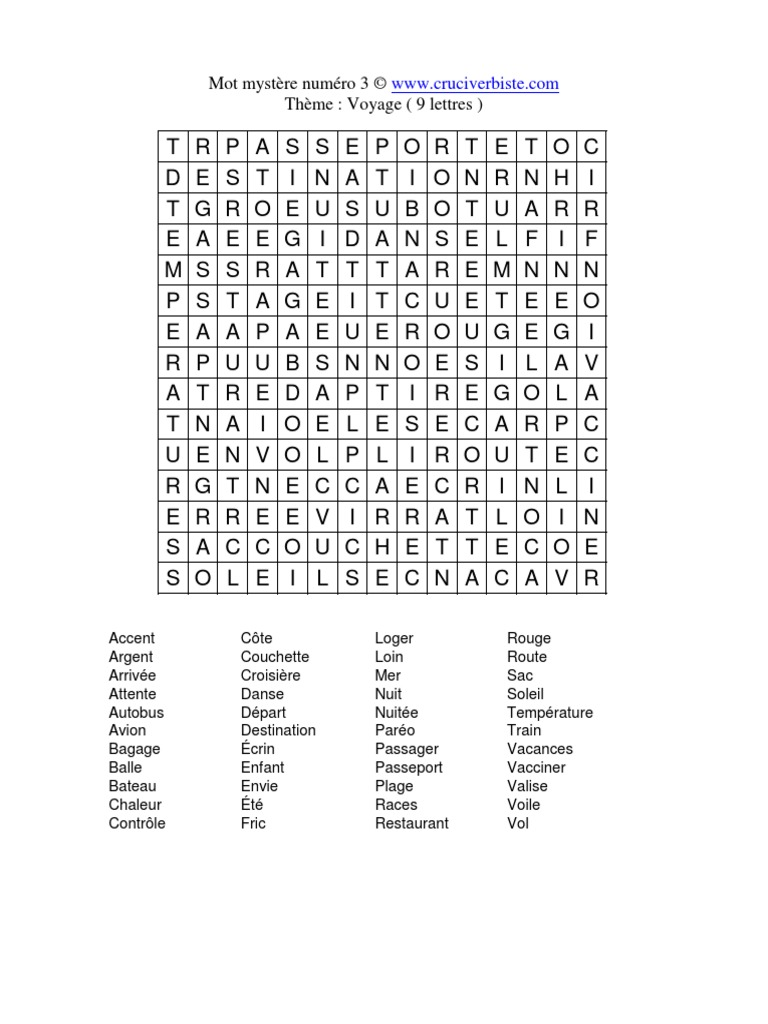 Mot Mystere Numero 3 C Theme Voyage 9 Lettres