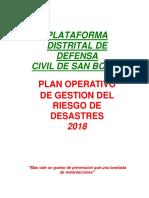 Plan Operativo de Gestion Del Riesgo de Desastres 2018