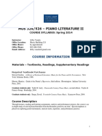 Texas a&M Piano Lit II Syllabus