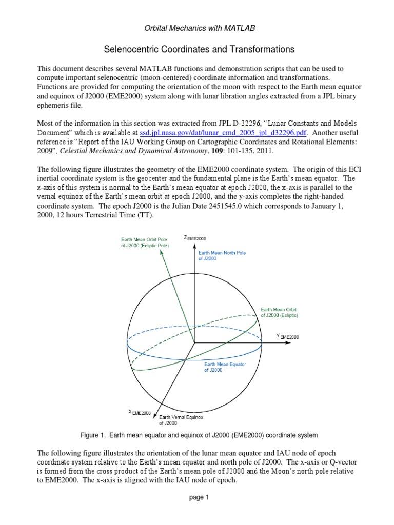 Selenocentric Coordinates and Transformations | Cartesian Coordinate